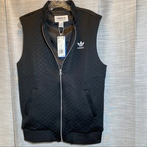 NWT Adidas quilted black zip front 2pocket vest, S